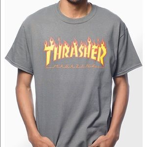 Thrasher Flame Logo Charcoal T-Shirt adult small